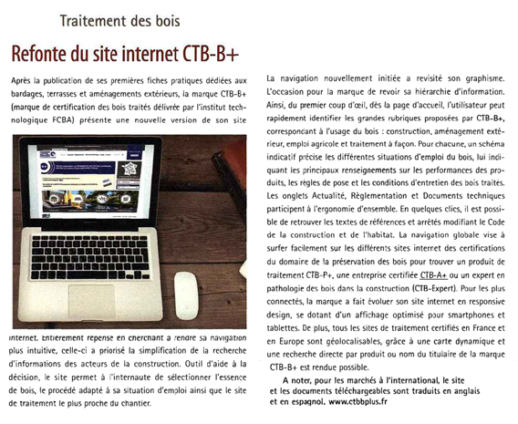 article sur la refonte du site web dans le bois international