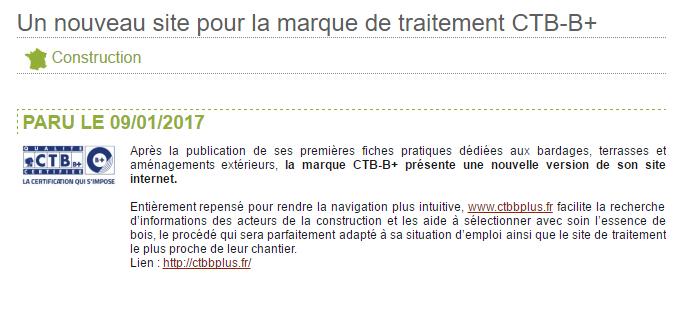 article sur le site de l'interprofession Midi-Pyrénées Bois