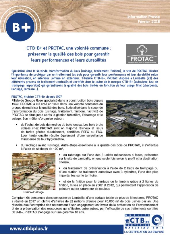 CTB-B+ et Protac, une volonté commune : préserver la qualité des bois pour garantir leurs performances et leurs durabilités