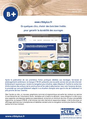 Dossier de presse annonçant le refonte du site web CTB-B+