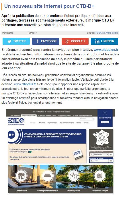 article de presse sur le site d'actualité du BTP Batinfo